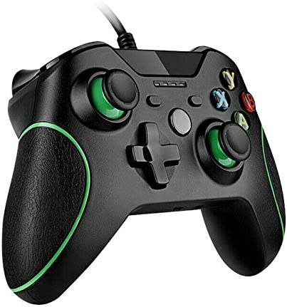 Wired Controller for Xbox One, Wired Xbox One Game Controller with Dual Vibration and Advanced Design USB Gamepad Joypad Controller for Xbox One/ S/ X/ PC with Win 7/8/10 (Black)