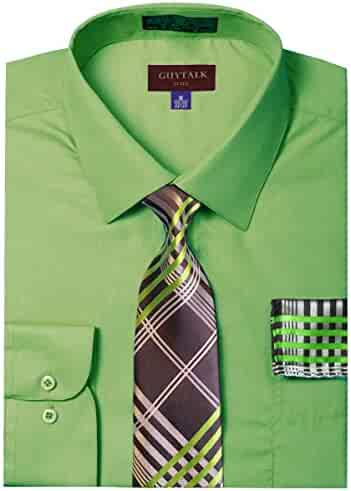 682659ab1cd3 Guytalk Mens Dress Shirt with Matching Tie and Handkerchief(30 Colors,  XS-5XL