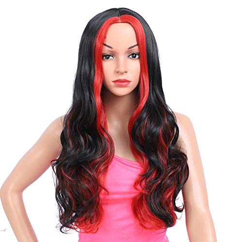 Amchoice Long Black Red Wavy Wig with Highlights for Women Cosplay Synthetic Wigs Heat Resistant Middle Part Wigs