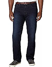 Men's Relaxed Fit Straight Leg Stretch Jeans (30X32, Dark Rinse)