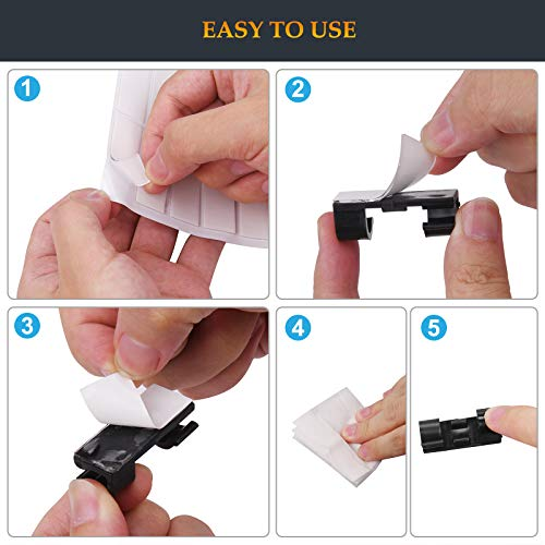 SOULWIT 50 Pcs Self Adhesive Cable Management Clips, Cable Organizers Sticky Wire Clips Cord Holder for TV PC Laptop Ethernet Cable Desktop Home Office (Large,Transparent)