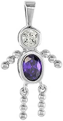 Sterling Silver Birthstone Necklace February Baby Brat Boy Amethyst Color Cubic Zirconia, 1.5 mm Chain