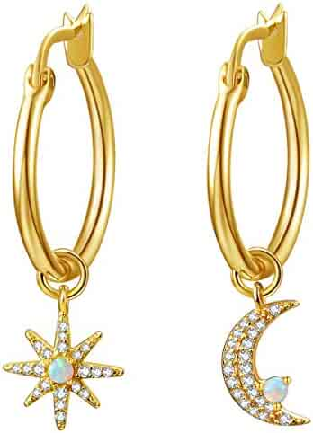 5c0e53333 14K Gold Plated Small Dipped Huggie Hoop Earrings for Women, Gold Dangle  Hoops with CZ