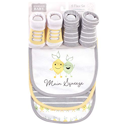 Hudson Baby Unisex Baby Cotton Bib and Sock Set, Main Squeeze, One Size