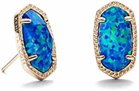 Kendra Scott Signature Ellie Earrings in Gold Plated and Royal Blue Kyocera Opal