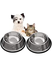 JOCHA Stainless Steel Dog Cat Bowls Cat Food Bowls with Rubber Base for Small/Medium/Large Dogs, Pets Feeder Bowl and Water Bowl Perfect Choice (2 PACK)