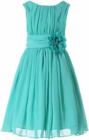 6f9d22d44 Bow Dream Junior Bridesmaids Little Girls Elegant Ruffle Chiffon Summer Flowers  Girls Dresses