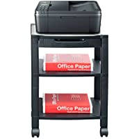 Mind Reader 3-Shelf Printer Cart, Stand with Wheels, Drawer, Cord Management, Black