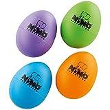 Nino Percussion NinoSET540-2 Plastic Egg Shaker Assortment, 4 Pieces: Aubergine, Grass Green, Orange, Sky Blue