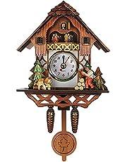 Cuckoo Shape Clocks Wall Cuckoo Clocks Black Forest Wooden Handmade Battery Powered Pendulum Wood Coo Coo Clock House Hanging Wall Decor for Kids Adult