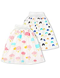 2 Packs Cotton Training Pants Waterproof Cloth Diaper Skirts for Baby Boy and Girl Night Time Sleeping Bed Clothes for Potty Training Girl 4~8T