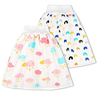 Cotton Training Pants Cloth Diaper Skirts for Baby Boy and Girl 2 Packs Sleeping Bedclothes for Potty Training