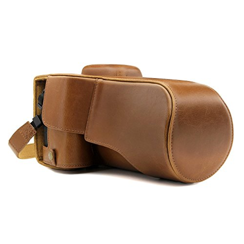 MegaGear Canon EOS Rebel T7i, 800D, Kiss X9i, 77D, 9000D (18-135mm) Ever Ready Leather Camera Case and Strap, with Battery Access - Light Brown - MG1228