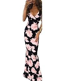 Women Long Gown Sleeveless V Neck Floral Print Maxi Party Beach Sundress
