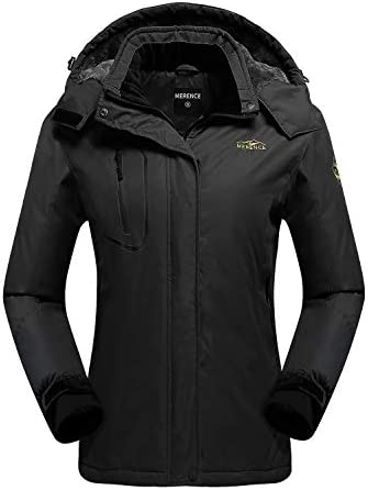 Women's Waterproof Ski Jacket Fleece Windproof Mountain Winter Snow Jacket Warm Outdoor Sports Rain Coat with Removable Hood