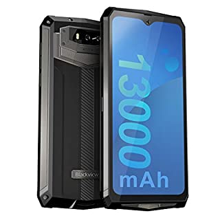 """Unlocked Rugged Smartphones, Blackview BV9100 4G LTE 13000mAh Battery Rugged Cell Phones Android 9.0 IP68 Waterproof Drop Proof, 6.3"""" Screen 4GB+64GB Octa-core Dual SIM for GSM AT&T T-Mobile, Black"""