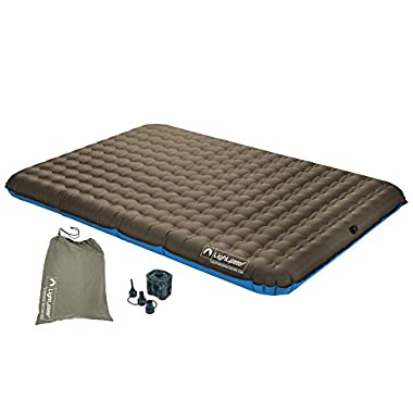 Lightspeed Outdoors 2-Person PVC-Free Air Bed w/ Battery Operated Pump, Brown/Blue