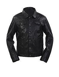 Men's Trucker Slim Fit Casual Black Leather Shirt Jeans Jacket