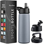 Triple Insulated Stainless Steel Water Bottle With Straw Lid - Flip Top Lid - Wide Mouth Cap (25 oz) Insulated