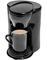 Clatronic KA 3356 1 koffiezetapparaat, ruimtebesparend ontwerp (ideaal voor onderweg), permanent nylonfilter, automatische uitschakeling, incl. keramische beker, zwart