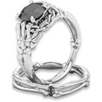 LALISA Skull Punk 925 Silver Women Men Black Topaz Wedding Engagement Ring Gift Sz 5-10 (8)
