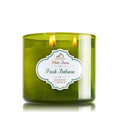 Bath & Body White Barn Fresh Balsam 3 Wick Candle 14.5 Oz