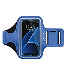 LG G3 Armband, J&D Sports Armband for LG G3, Key holder Slot, Perfect Earphone Connection while Workout Running - Blue