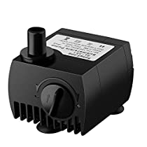 VicTsing 80 GPH Water Pump Submersible Pump for Pond, Aquarium, Fish Tank Fountain Water Pump Hydroponics System (5.9ft Power Cord, 300L/H)