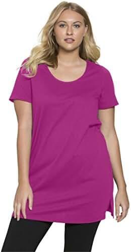Roamans Women's Plus Size Scoop Neck Max Tunic