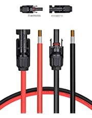 BougeRV 20 Feet 10AWG Solar Extension Cable with Female and Male Connector with Extra Free Pair of Connectors Solar Panel Adaptor Kit Tool (20FT Red + 20FT Black)