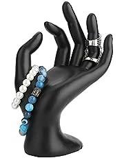 Smyckestillhållare, svart skyltdocka hand OK gest ringar display stativ harts sammet örhängen armband konst hand display ställning stöd smycken organisatörer visa fodral (harts)