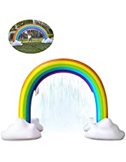Inflatable Rainbow Sprinkler,Outdoor Summer Water Toy,Large Water Spray Toy Inflatable Rainbow Bridge Funny Outdoor Party Sprinkler Toy, for Boys and Girls 4-6 Years Old