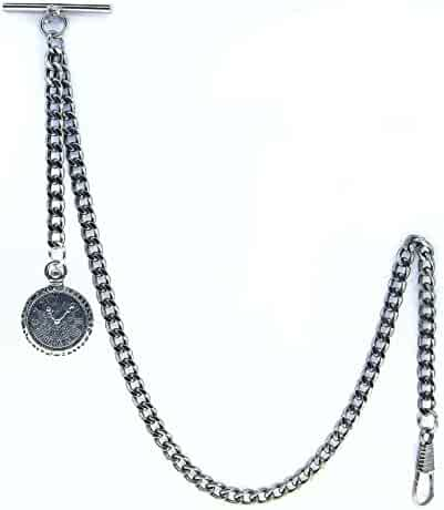 Albert Chain Pocket Watch Curb Link Chain Antique Silver Plating with Mini Pocket Watch Design Fob T Bar AC36