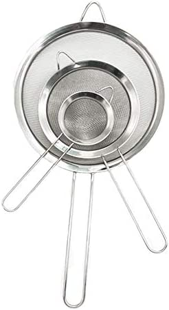 3PCS Stainless Steel Kitchen Fine Mesh Strainers with Handle, 2.6″+4.6″+7.1″ for Juice Egg Tea Coffee Flour Filter and Rinse Vegetable Fruit & More – The Super Cheap