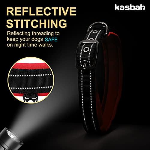 KASBAH Reflective Dog Collar Soft Neoprene Padded Dog Collar for All Breeds Adjustable Heavy Duty Collar for Small/Medium/Large Dogs Breathable Nylon Pet Collar