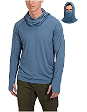 T Shirts for Men Long Sleeve Casual Summer Face Mask Sunscreen Fishing Thumb Hole Hoodie Quick Dry Tops Blouse