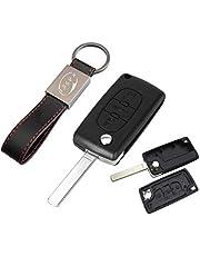 KASER Sleutel Shell Afstandsbediening voor Citroen C1 C2 C3 C4 C5 Autosleutel Remote Key Fob Case 3 Knoppen met Lederen Sleutelhanger - batterijversie op de chip