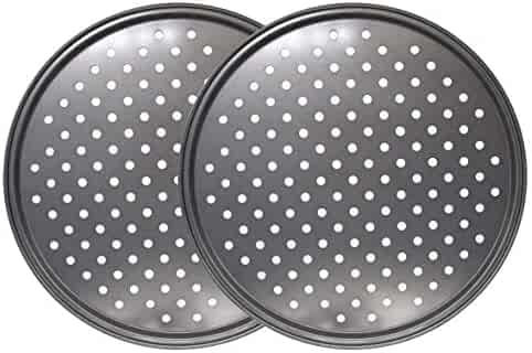 Richohome 12 inch Nonstick Carbon Steel Pizza Tray Pizza Pan with Holes, Pack of 2