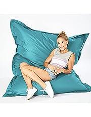 Green Bean © SQUARE XXL Reuze zitzak 140x180 cm - 380L vulling - afneembare hoes, vlekbestendig, wasbaar - Binnen & Buiten - Gaming Bean Bag Lounge Chair - Kinderen & Volwassenen - Aquamarine