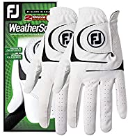 FootJoy Luvas de golfe masculinas WeatherSof, pacote com 2 (brancas)