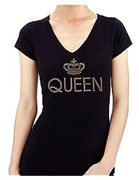 Queen Crown Hand-Made Rhinestone Stud Women's T-Shirts