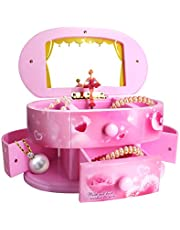 Qulable Musical Jewelry Box,Girl's Musical Jewelry Storage Box with Drawer and Dancing Ballerina Makeup Mirror Music Box Jewelry Storage Music Box for Kids Children (Pink)