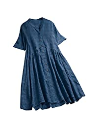 HHmei Women's Vintage Casual Linen Dress, O-Neck Plus Size Asymmetrical Dresses