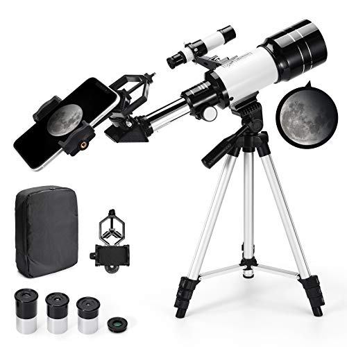 Astronomical Telescope Zoom 150X Adjustable Tripod Backpack Phone Holder for Moon Viewing - 70mm Aperture 300mm AZ Mount Astronomical Refracting Telescope for Kids Beginners