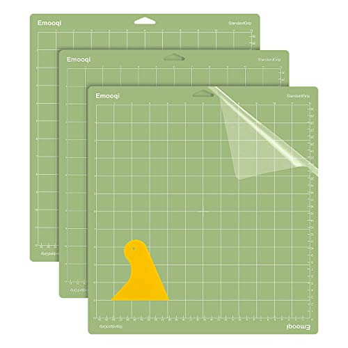 Emooqi Cutting Mat for Cricut Maker/Explore Air 2/Air/One(3pcs, 12x12 Inch, Scraper), LightGrip, StandardGrip, StrongGrip, Square-Grid&Non-Slip Cutting Mats for Art, Scrapbooking, and DIY Projects.