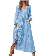 فستان طويل طويل طويل الأكمام من DressU من القطن والكتان