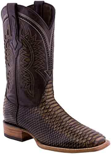 ee6a29c86289ed Hand Made Men s Python Design Leather Cowboy Western Square Boots Sand