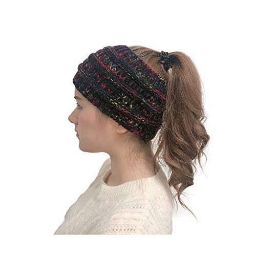 MEANIT Womens Knit Confetti Cable Headband Crochet Twist Head Wrap Ear Warmer Black