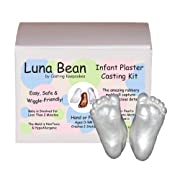 Luna Bean INFANT Plaster Statue Casting Keepsake Kit - Cast Baby Hand & Foot (0-9M) (Pearl)