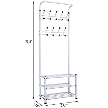 Yaheetech Metal 18 Hooks Coat Garment Rack with 3 Tier Shoes Rack Shelves Hall Tree Storage Organizer for Entryway, White